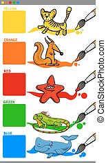 main colors with cartoon animals - Cartoon Illustration of...