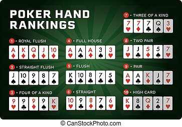 main, combinaison, hold'em, vecteur, ensemble, poker, texas, rankings