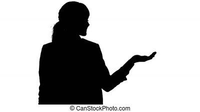 main, copie, femme, ombre, espace, fond, caucasien blanc, tenue, elle