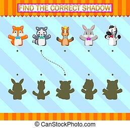 main, correct, marionnette, trouver, différent, shadow.