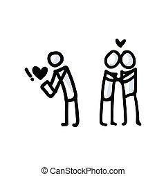 main, couple., icône, romance, simple, vecteur, app, dater, figure, crosse, concept, dessiné, pictogram., bujo, jour, valentines, romantique, motif, coeur, relationship., illustration., 10., eps, amour, anniversaire