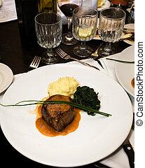 Main course - Macro of a professionally prepared gourmet...
