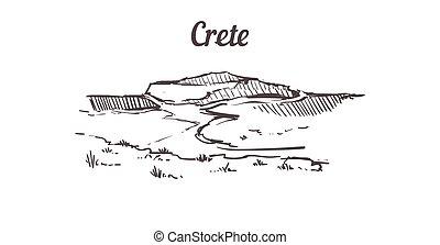 main, crète, dessiné, illustration, sketch., horizon, isolé