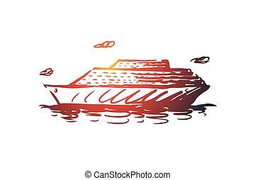 main, croisière, bateau, isolé, vector., concept., voyage, dessiné, vacances, mer