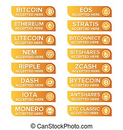 Main crypto types payment buttons set on transparent ...
