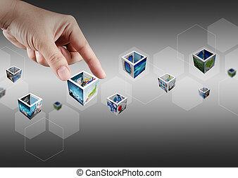 main, cueillette, virtuel, bouton, et, 3d, images