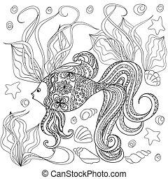main, décoré, dessin animé, dessiné, fish