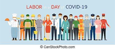 main-d'œuvre, figure, ouvrier, gens, masque, porter, groupe