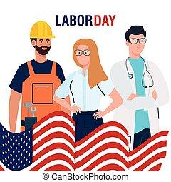 main-d'œuvre, gens, affiche, occupation, jour, drapeau, différent, usa, groupe