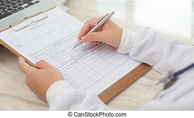 main, de, docteur, écriture, sur, prescription
