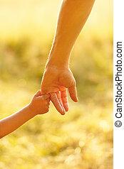 main, de, parent enfant