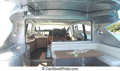 Main deck of luxury yacht