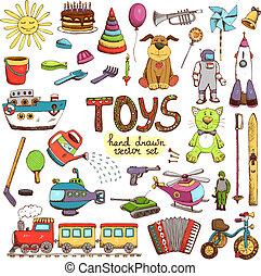 main, dessiné, coloré, jouets