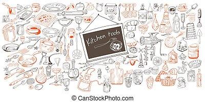 main, dessiné, cuisine, collection, icônes