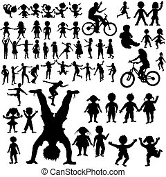 main, dessiné, enfants, silhouettes, collection