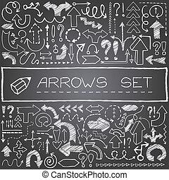 main, dessiné, ensemble, flèche, icônes