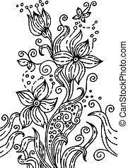 main, dessiné, floral, illustration