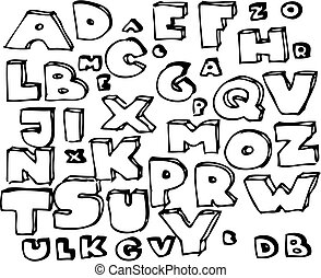 main, dessiné, griffonnage, alphabet
