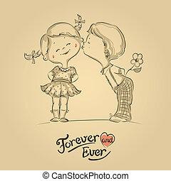 main, dessiné, illustration, de, baisers, garçon fille