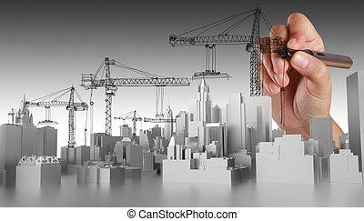 main, dessiné, résumé, bâtiment
