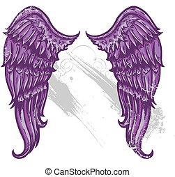 main, dessiné, tatouage, style, ailes, converti, à, vecter,...