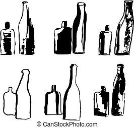 main, dessiné, vecteur, illustration, bottles.