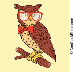 main, dessiné, vecteur, illustration, hibou