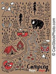 main, dessiné, vecteur, maps., impression, pour, camping,...