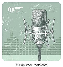 main, dessiné, vecteur, studio, condensateur, microphone