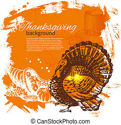 main, dessiné, vendange, thanksgiving, jour, fond