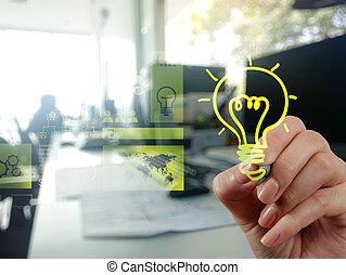 main, dessin, créatif, stratégie commerciale, à, ampoule, comme, conce