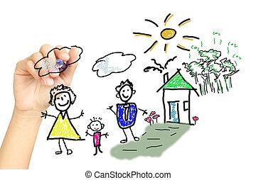 main, dessin, famille, heureux