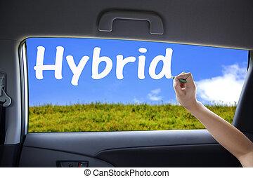 main, dessin, fenetres, voiture, hybride