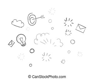 main, dessin, fond, créatif