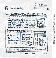 main, dessin, gabarit, de, site web, sur, papier, feuille