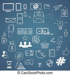 main, dessiner, social, média, signe, et, symbole, doodles, elements., concept, tweet, hashtag, internet, communication