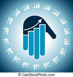main, diagramme, business, icône