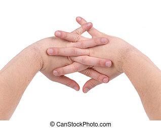 main., doigts traversés