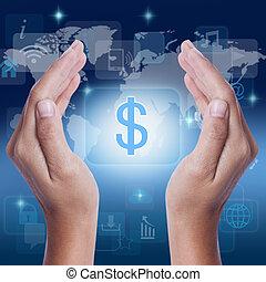 main, dollar, projection, symbole