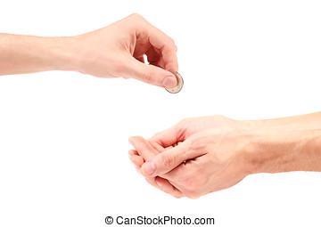 main, donne, monnaie, à, mendiant
