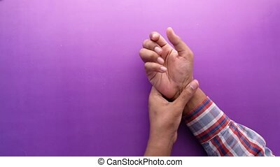 main, douleur, souffrance, homme, grand plan