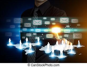 main, e-mail, urgent, affaires signent