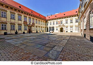 Main entrance patio in Brno New Town Hall