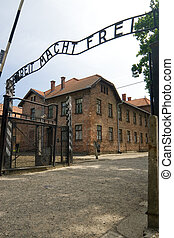 Auschwitz - Main Entrance to Concentration Camp in...