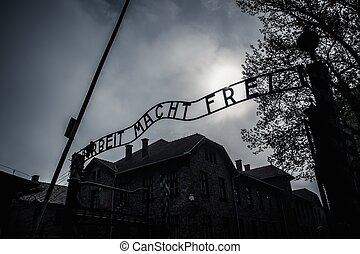 Main entrance to former Nazi concentration camp Auschwitz I...