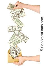 main, et, argent tombant, dans, enveloppe