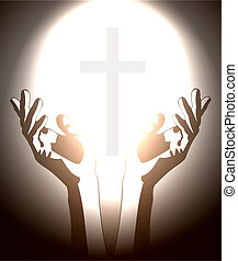main, et, chrétien, croix, silhouette