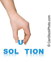 main, et, mot, solution