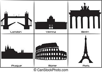 Main European landmarks - Main landmarks and monuments of...