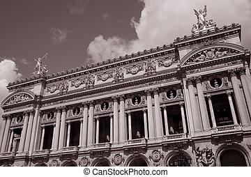 Main Facade of the Palais Garnier Opera House in Paris, France